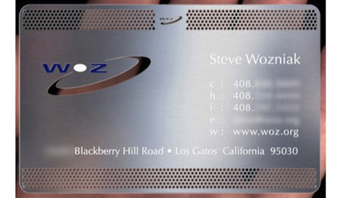 Steve wozniaks sleek business card macstories take a look at steve wozniaks business card stamped by uk company plasmadesign and produced for several high profile clients reheart Images